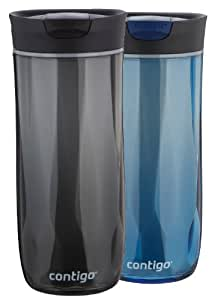 Contigo SnapSeal Byron Double-Wall Plastic Travel Mugs, 16oz, Monaco and Black, 2-Pack
