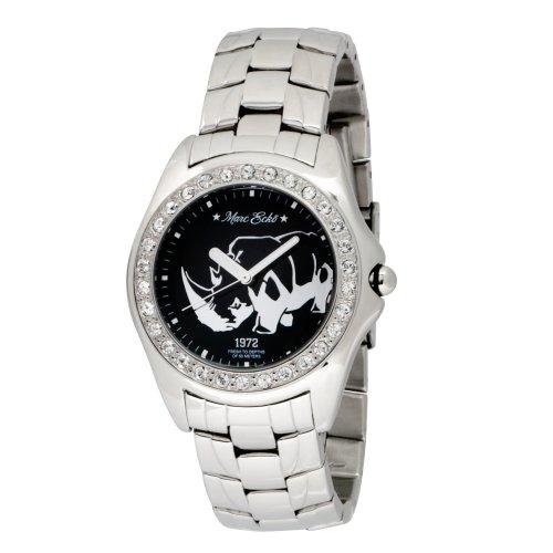 Swarovski Crystal Logo Sunglasses (Marc Ecko Men's E95016G4 Silver Stainless Steel Rhino Logo)