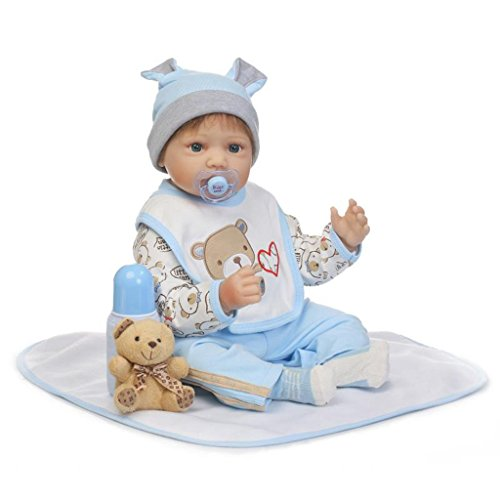 Seedollia Reborn Baby Dolls Boy Silicone Newborn Eyes Open with Pacifier 22 inch Blue Bear from Seedollia