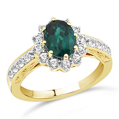 (10k Yellow Gold Lab Created Emerald Ring-Size 8)