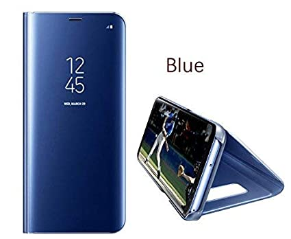 watch 74f6e 88243 Starz Clear View Electroplate Mirror Protective Leather Flip Cover for  Samsung Galaxy M30 (Blue)