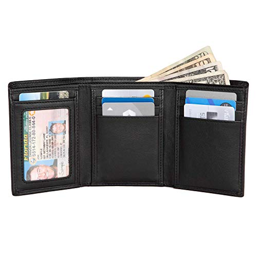 Extra Capacity Trifold Wallet for Men - RFID Blocking Genuine Leather -