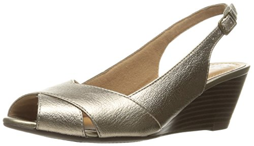 Clarks Women's Brielle Kae Wedge Pump, Metallic Leather, 8.5 W (Ladies Wide Dress Shoes)