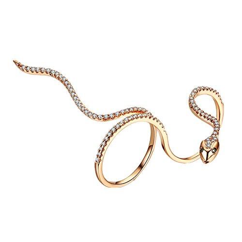 - Cherryzz Fashion Unique Design Cool Snake Crystal Moldling Show Ring (Rose Gold)