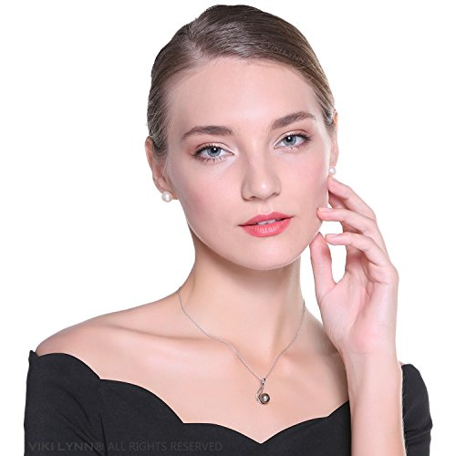 VIKI LYNN Tahitian Cultured Black Pearl Pendant Necklace 9 10mm Round Sterling Silver for Women