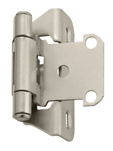 (Amerock BPR7566G10 1/4 in (6 mm) Overlay Self-Closing, Partial Wrap Satin Nickel Hinge - 2 Pack )
