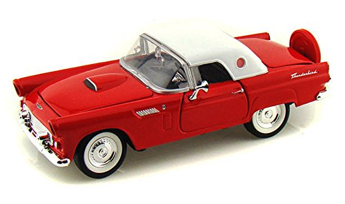 1956 Ford Thunderbird Closed Convertible, Red - Motormax 73312 - 1/24 Scale Diecast Model Toy Car, but NO Box -  Motor Max, 73312r