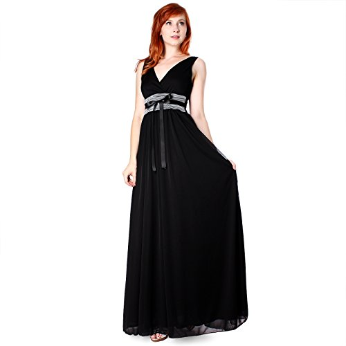 Evanese Women's Chiffon Matte Jersey Long Dress with Rouched Empire Line L, Black/Cement ()