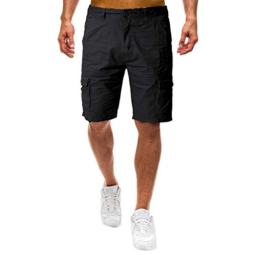 Featurestop Loose Casual Men's Shorts Pajamas Comfortable Elastic Quick-Drying Elastic Sweat Black