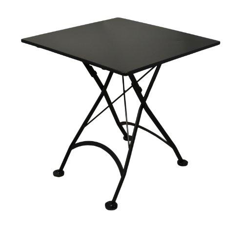 Mobel Designhaus French Café Bistro Folding Table, Jet Black Frame, 28'' x 28'' x 29'' Height, Square Steel Metal Top by Mobel Designhaus