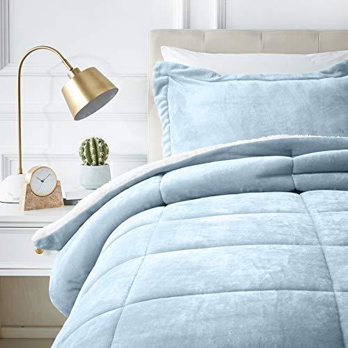 AmazonBasics Ultra-Soft Micromink Sherpa Comforter Bed Set - Twin, Smoke Blue (Bedspreads Comforters Velvet)