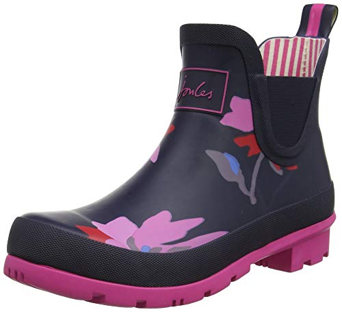 (Joules Womens Wellibobs Short Printed Rain Boots, Navy Multi Floral Size 10)