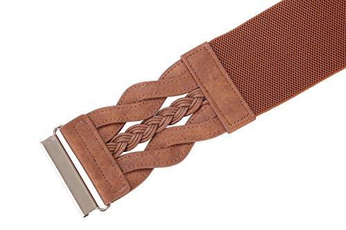 Fashion Wide Belt Braided Leatherette Women Cinch Belt (Brown, M) by PAUL JONES (Image #3)