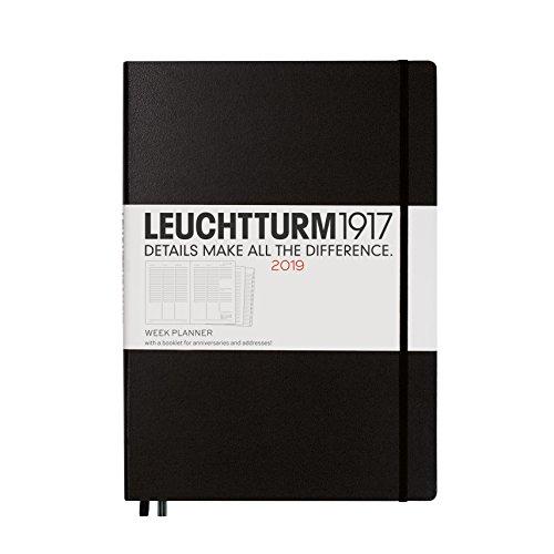 Leuchtturm1917 357886 Week Planner 2019 Hardcover, Master (A4), English, Black ()