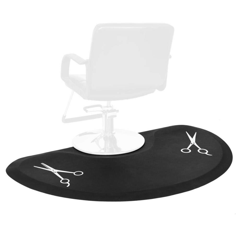 Semicircle Anti-Fatigue Salon Mat,Beauty Hair Stylist Salonbarber Chairs, Scissors Pattern Salon Chairs, 3′x5′x1/2'' (Black)