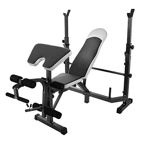 FoodKing Mliti-Station Olympic Weight Bench 5-Position Adjustable 600 Pounds High-Density Foam