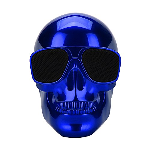JYKSQ Plating Skull Protable Wireless Bluetooth Stereo Speaker with HD Sound and Bass Funny Scary Birthday Suitable for Halloween Christmas,Blue]()