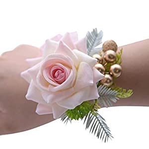 MerryJuly Pack of 2 Wrist Corsage for Prom Wedding Bridal Wrist Bracelets Flower Wristband Hand Flower for Bride Bridesmaid Perfect for Wedding, Prom, Party 68