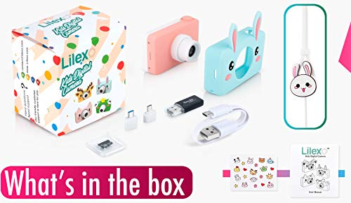 Lilexo Kids Camera - Children Digital Camcorder for Girls Gifts, with Anti Slip Grip and Shockproof Animal Protective Silicone Cover - 16GB Memory Card Included (Blue Rabbit) by Lilexo (Image #8)