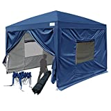 Quictent Privacy 8x8 EZ Pop Up Canopy Tent Party Tent Folding Gazebo with Sidewalls and Mesh Windows 100% Waterproof (Navy Blue)