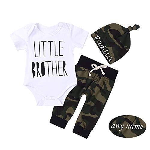 Unistylo Conjunto de 3 Piezas de bebé recién Nacido para niños y niñas con diseño de Camuflaje y Pantalones + Sombrero,...