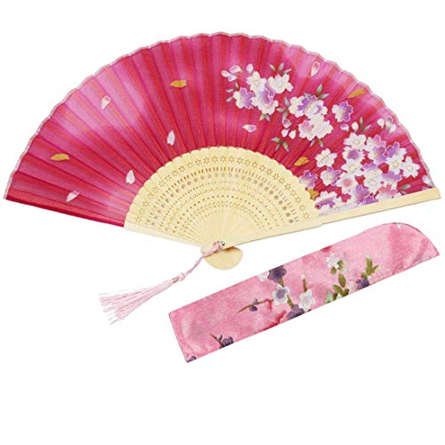 Chinese Folding Fans Silk Handheld for Women Flowers Pattern Bamboo for Gifts Wedding Dancing Party