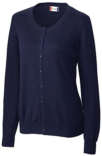 Clique Ladies Jewel Neck Button Down Cardigan, Navy, (Jewel Neck Ribbed Sweater)