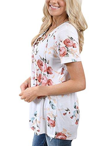 Mujer Verano Casual Floral Impresión Manga Corta Tee Tops Camiseta Cuello V Lace Up Camisetas Cortas T Shirt Blanco