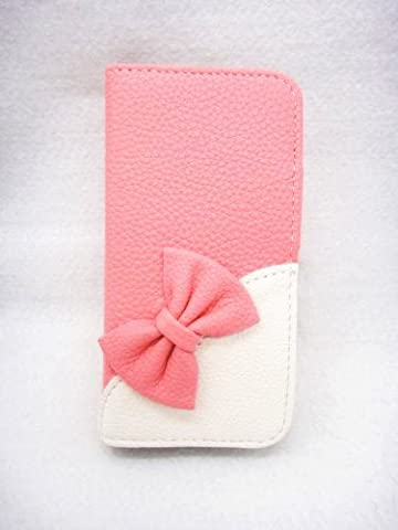 Wallet Bowknot Bow Girl Cute lovely Flip Pouch Cover Card Holder PU Leather Skin Case Cover For Alcatel One Touch Pop Mega LTE A995G (Alcatel A995g Wallet Case)