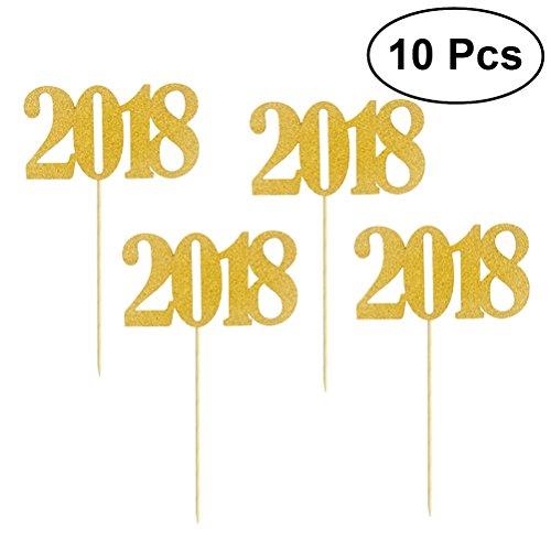 BESTOYARD Cake Toppers Number 2018 Party Cupcake Toppers Bir