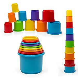 Rainbow Stacking & Nesting Cups Baby Building Set. 10 Pieces. With Embossed Animal Characters. For Indoor, Outdoor, Bathtub, And Beach Fun Toy. Multi Colors