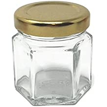 1.5 oz 45 ml Hexagon Glass Jars with Gold Metal Lids by Richards Packaging 24-pack
