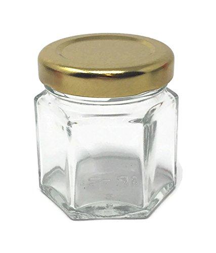 1.5 oz 45 ml Hexagon Glass Jars with Gold Metal Lids by Richards Packaging - Hexagon Metal