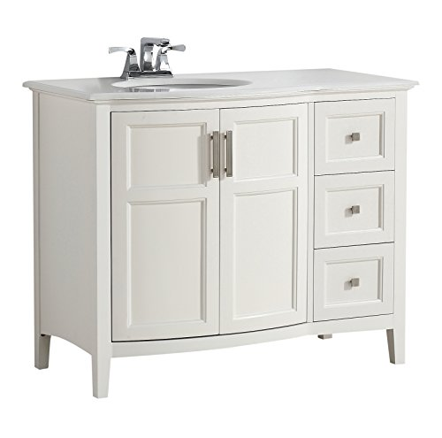 Simpli Home 4AXCVWNRW-42 Winston 42 inch Contemporary Bath Vanity in Soft White with Bombay White Engineered Quartz Marble Top
