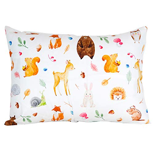 ADDISON BELLE 100% Organic Toddler Pillowcase Fits Both 13″x18″ and 14″x19″ Pillows – Soft, Durable & Breathable (Woodland Animals)