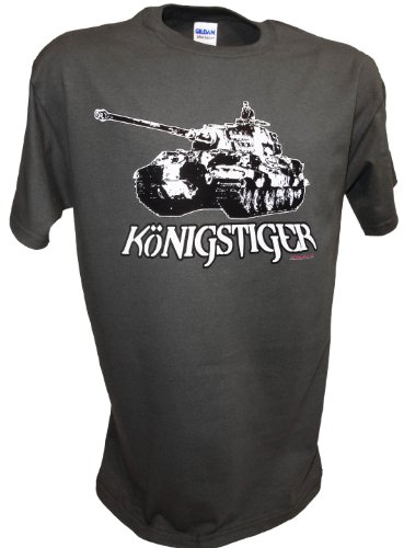 Achtung T Shirt LLC Men's Konigstiger Tiger 2 Tank German RC WW2 Panzer T Shirt Gray