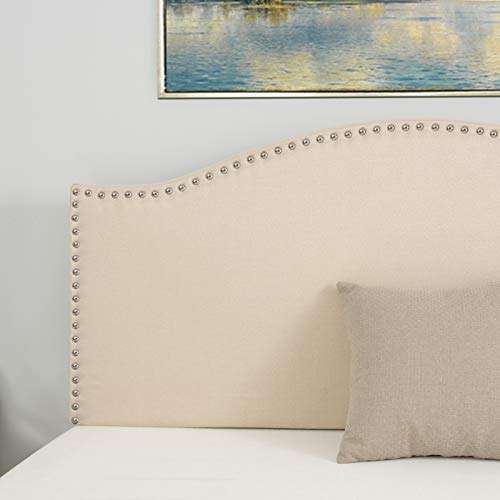LAGRIMA Upholstered Linen Full/Queen Size Headboard with Decorative Nailhead Trim and Curved Shape in Beige Fabric Adjustable Height