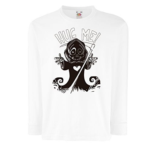 T-Shirt for Kids The Death is Coming! Halloween Skeleton Clothes, Evil Skull Sickle (5-6 Years White Multi Color)]()