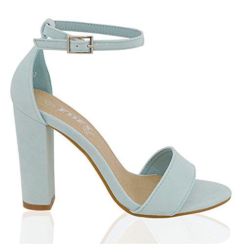 Sandalias al Glam pálido cuadrado Gamuza punta tobillo Sintético y con Sintética abierta de tacón tira Essex Azul E1wg8Bqw
