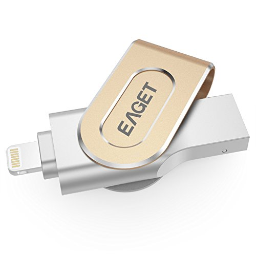 EAGET iPhone iPad Flash Drive 32GB Metal Case USB 3.0 Thumb Drive Lightning Connector External Storage Memory Expansion Apple MFi Certified I80 (Lowest Ipod Touch Price)
