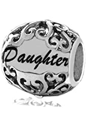"Sterling Silver Filigree Design"" Daughter"" Bead Charm."