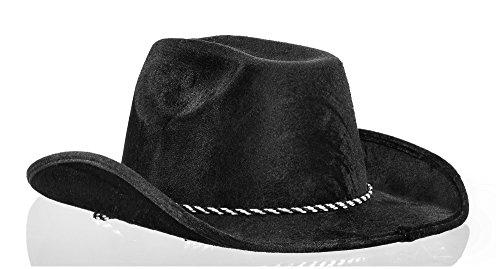 Party Ready Team Spirit Velour Cowboy Hat Accessory, Black , Fabric , 5