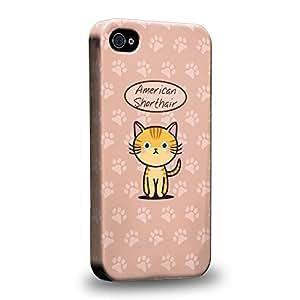 Case88 Premium Designs Art Collections Hand Drawing Cartoon kitten american shorthair Carcasa/Funda dura para el Apple iPhone 4 4s