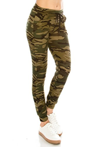ALWAYS Women Drawstrings Jogger Sweatpants - Super Light Skinny Camo Soft Pockets Pants L/XL