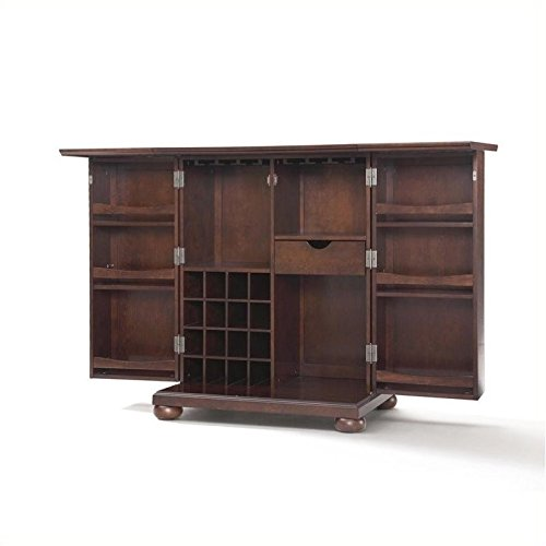 Pemberly Row Expandable Home Bar Cabinet in Vintage Mahogany (Top Cabinet Bar)