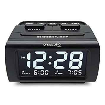 U-needQ - Reloj Despertador Digital con Alarma LED para Dormir – Escritorio, Oficina