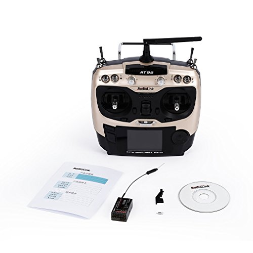 Price comparison product image Radiolink AT9S 2.4GHz 9Ch Radio Control Transmitter with R9DS RC Receiver(Color:Black)