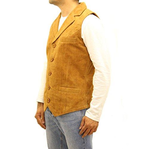 Avec Bronzage Suède Élégant Blazer Cinq Daim Classique Gilet Blazer Long Couleur Style Boutons En O7agnIq