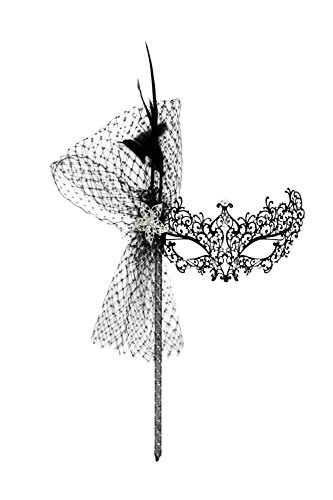 Success Creations Odette Deluxe Laser-Cut Metal Black Venetian Masquerade Mask Mask on a Stick
