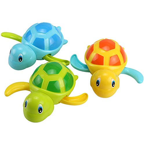 Cute Cartoon Animal Tortoise Classic Baby Water Toy Baby Bath Toys Swimming Turtle Fish Floating Wind-up Pool Toys (1PC Random Color 12)
